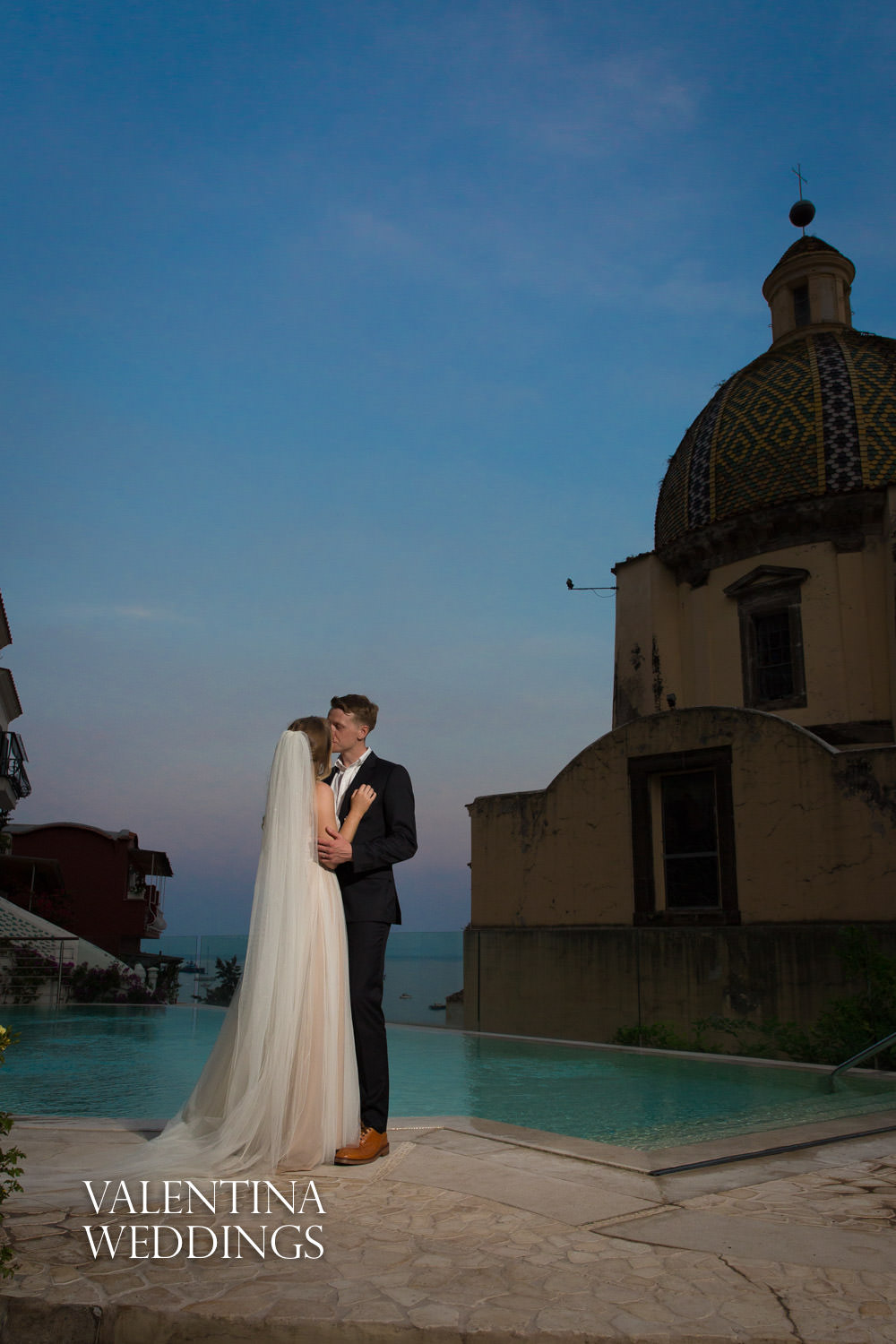 Bride and groom at sunset at Palazzo Murat Positano